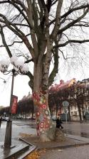 Urban knitting art in front of the Historiska Museet