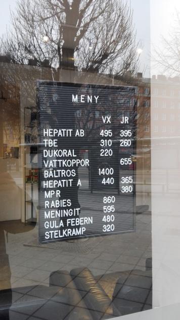 """Our vaccine menu"" - St Eriksplan"